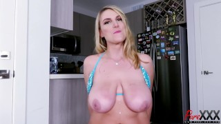 BTS interview with busty blonde Office Jane